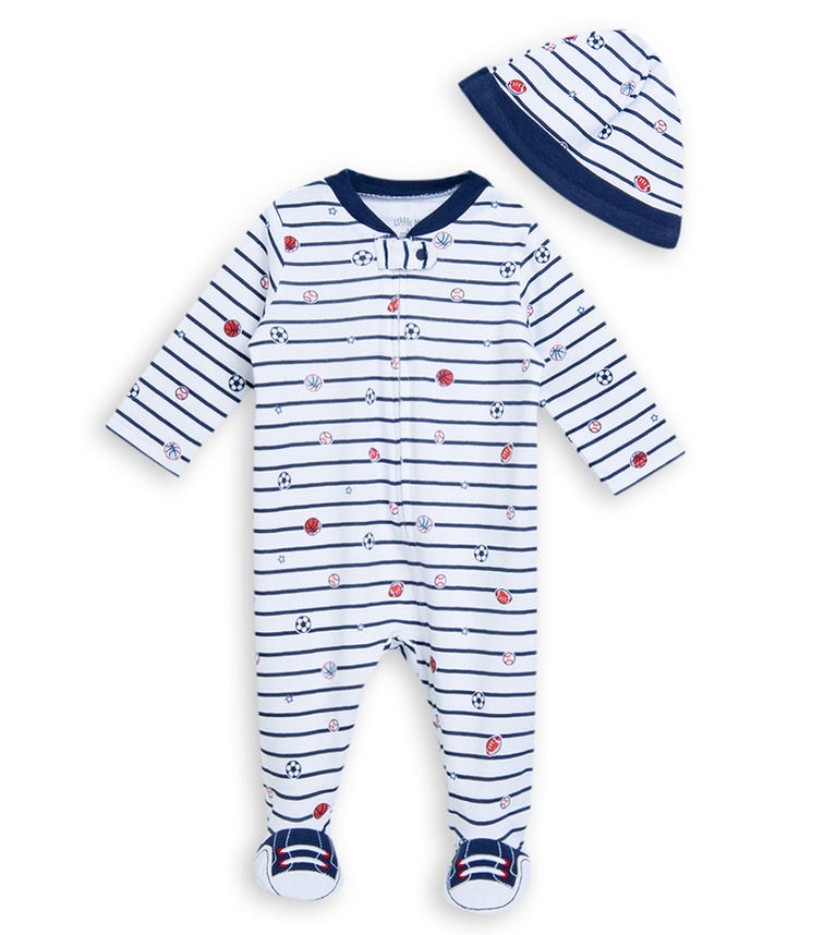 LITTLE ME Sports Star Onesie With Footie And Hat