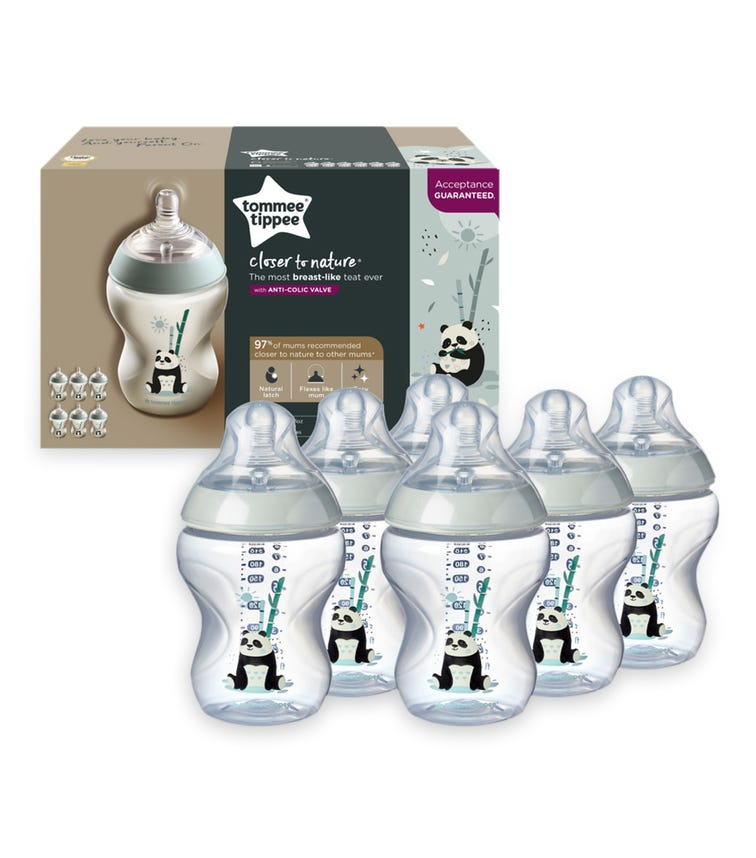 TOMMEE TIPPEE Closer to Nature Feeding Bottle - Girl (260ML x 6)