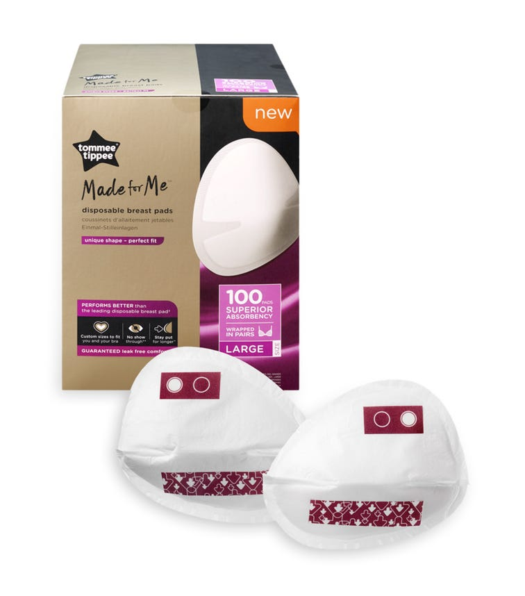 TOMMEE TIPPEE Made For Me Disposable Breast Pads (100 Pack) Large Size