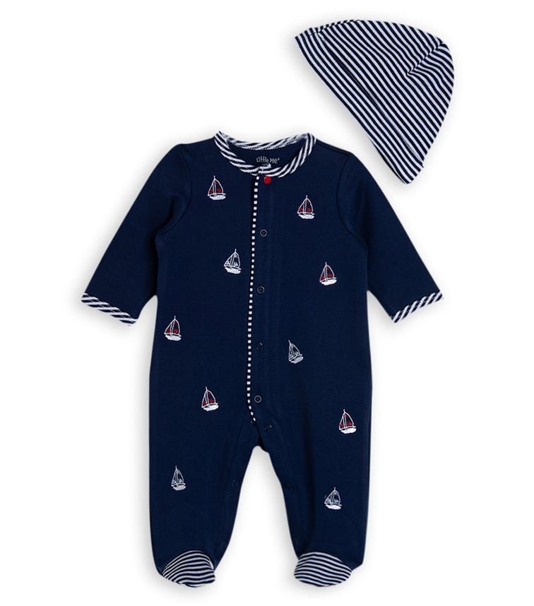 LITTLE ME Sailboats Romper With Footie And Hat