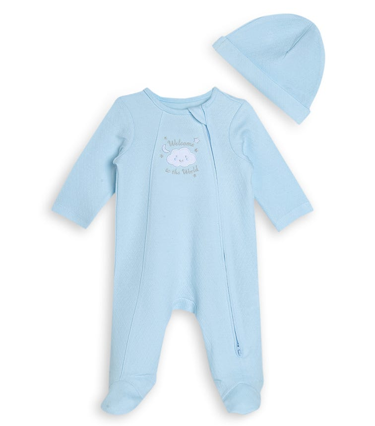 LITTLE ME New World Boy Romper With Footie And Hat