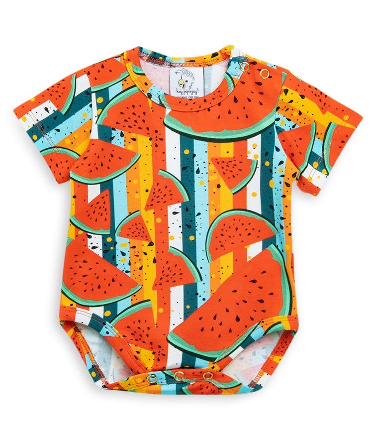 HEY POPINJAY Short Sleeve Bodysuit - Watermelon