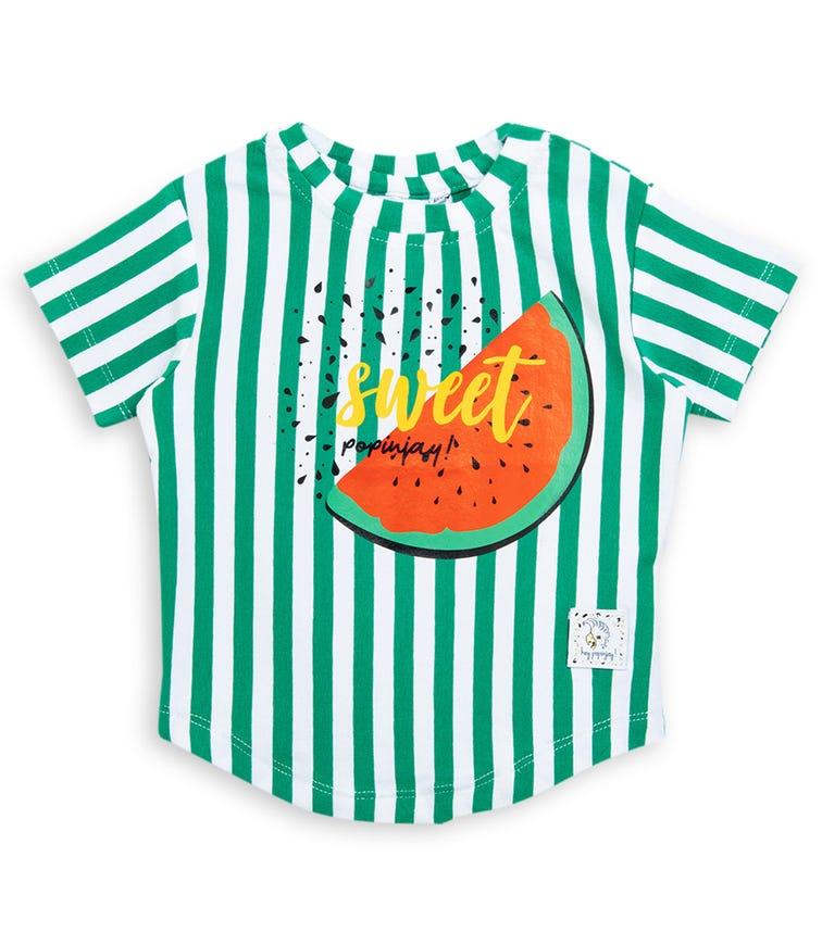 HEY POPINJAY T-Shirt - Green Stripes Watermelon