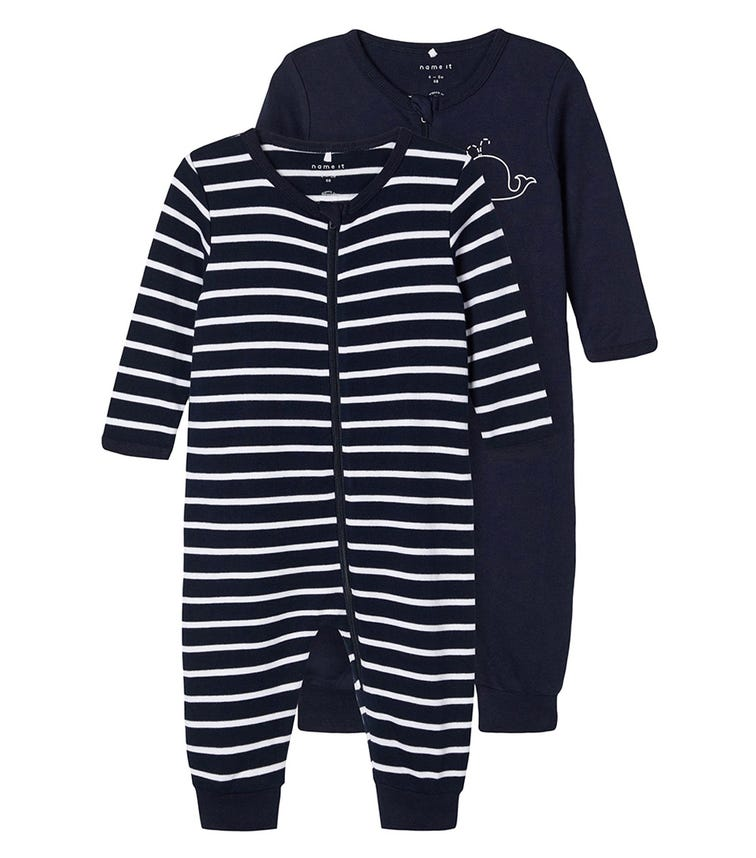 NAME IT Whale Dark Sapphire Sleeper Suit (2-Pack)