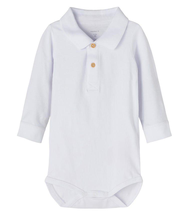 NAME IT Bright White Polo Bodysuit