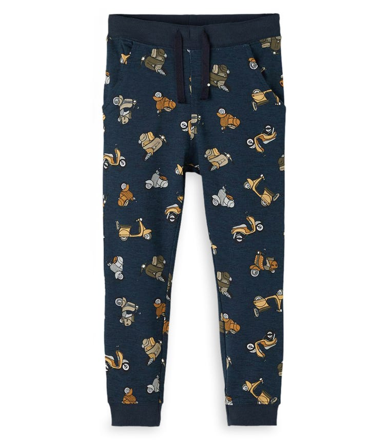NAME IT Navy Scooter Print Sweatpants