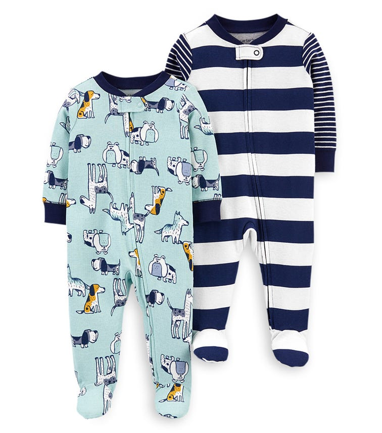 CARTER'S 2-Pack Doggy Zip-Up Cotton Sleep & Plays