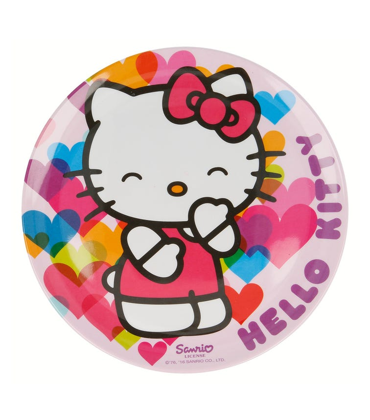 HELLO KITTY Melamine Hearts Plate Without Rim