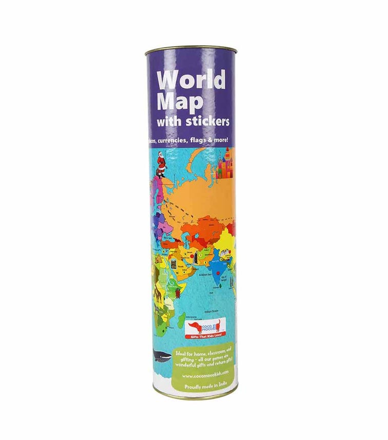 COCOMOCO KIDS World Map With Reusable Stickers
