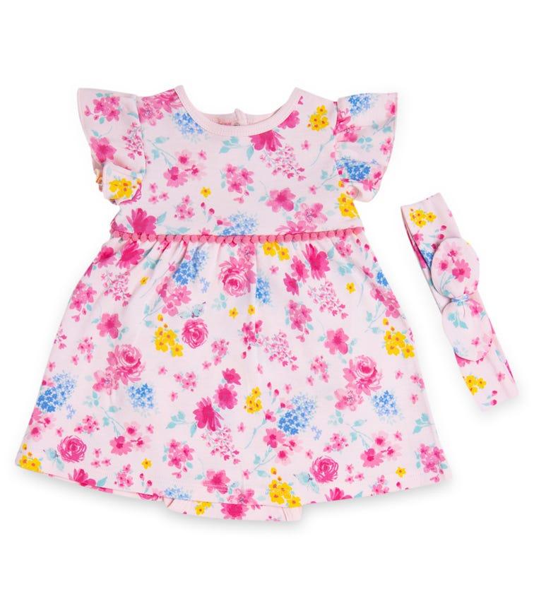 LITTLE ME Floral Bodysuit Dress