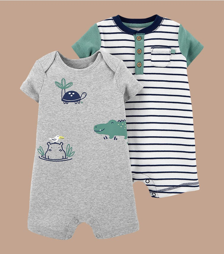 CARTER'S 2-Pack Water Buddies Rompers