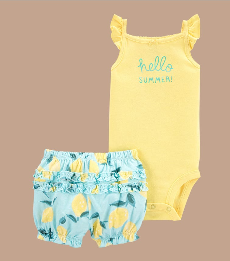 CARTER'S 2-Piece Hello Summer Bodysuit & Short Set