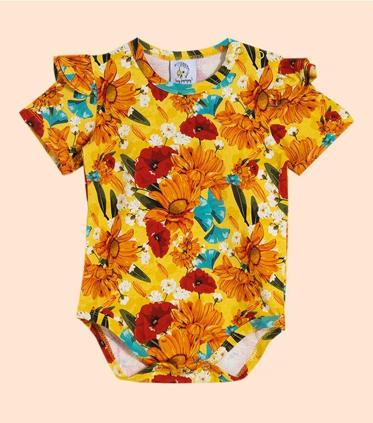 HEY POPINJAY Yellow Meadow Bodysuit With Frills Short
