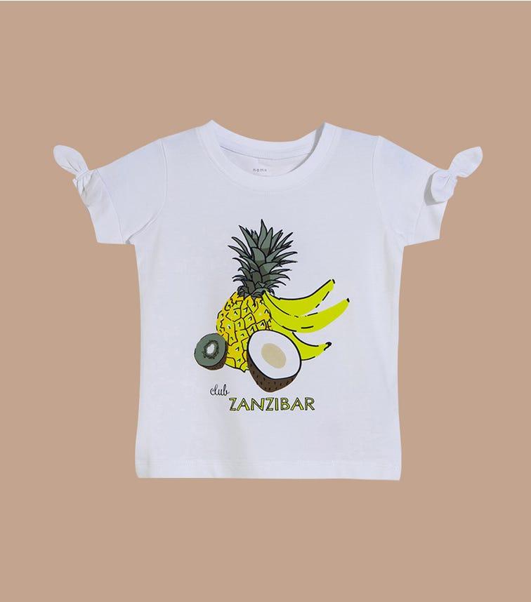 NAME IT Bright White Club Zanzibar Graphic Tee