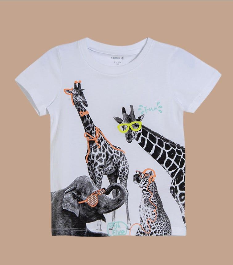 NAME IT Bright White Giraffe Doodle Top