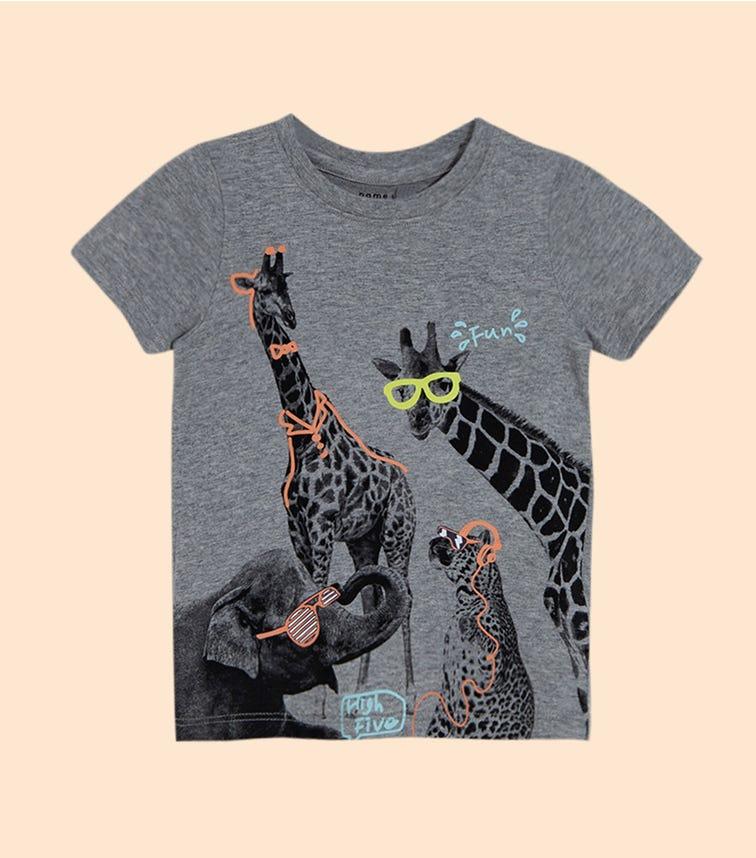NAME IT Grey Melange Giraffe Doodle Top