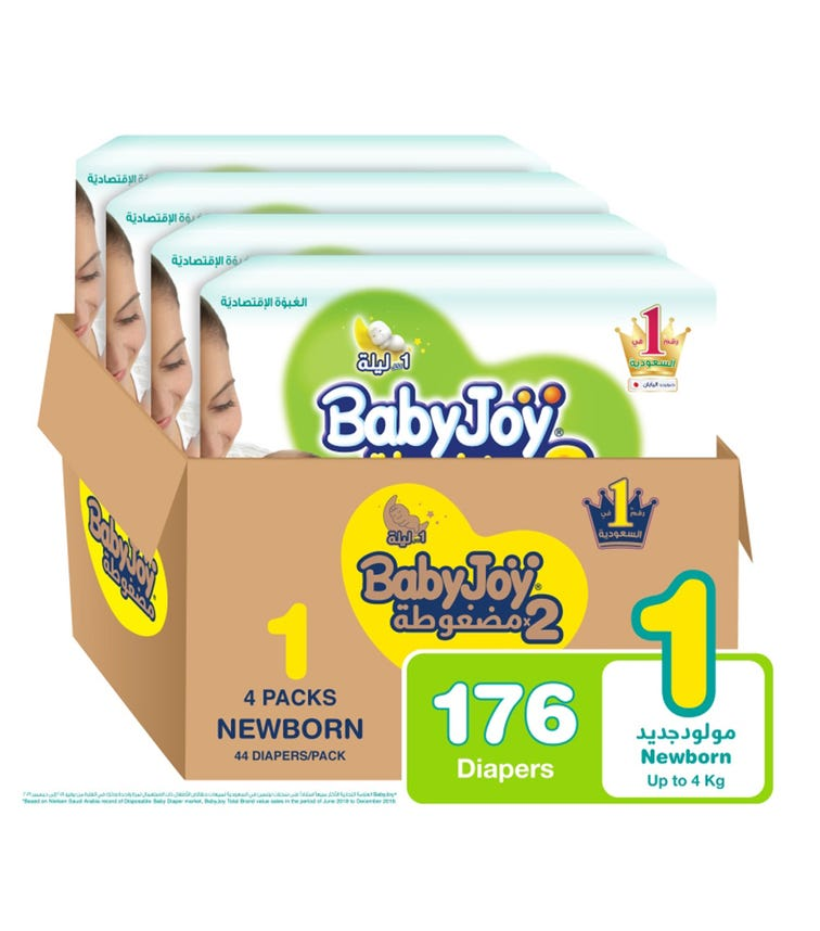 BABYJOY 2X Compressed Diaper, Value Pack Newborn Size 1, Count 176, Up To 4 KG