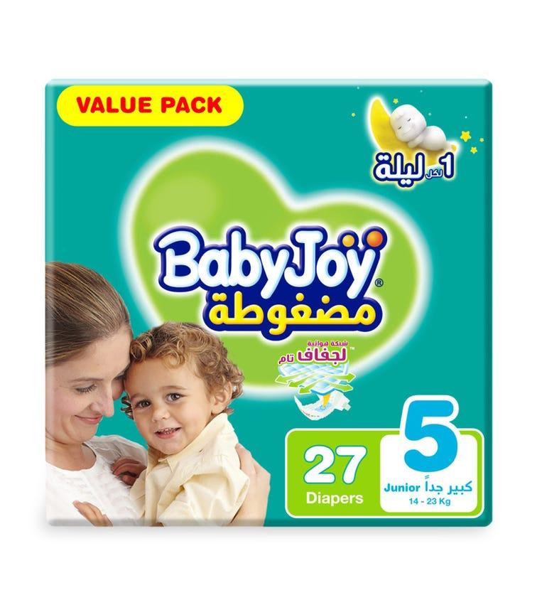 BABYJOY Compressed Diamond Pad Diaper, Value Pack Junior Size 5, Count 27, 14 - 23 KG