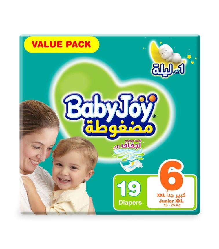 BABYJOY Compressed Diamond Pad Diaper, Value Pack Junior XXL Size 6, Count 19, 16 - 25 KG