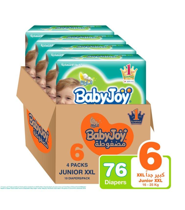 BABYJOY Compressed Diamond Pad Diaper, Value Pack Junior XXL Size 6, Count 76, 16 - 25 KG