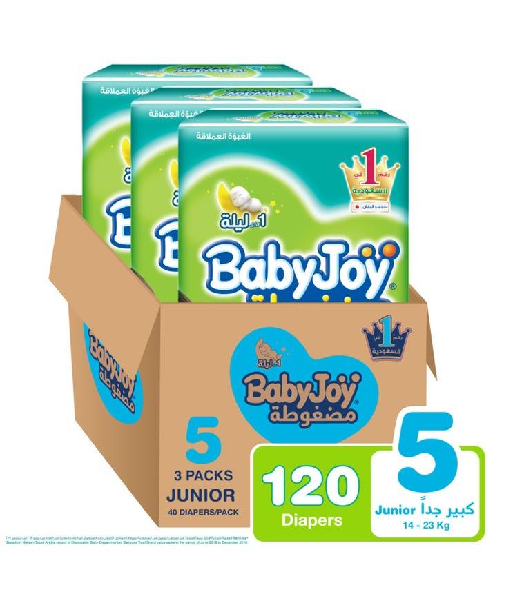 BABYJOY Compressed Diamond Pad Diaper, Jumbo Pack, Junior Size 5, Count 120, 14 - 23 KG