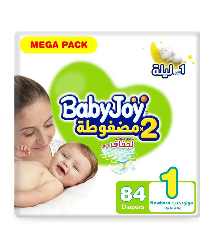 BABYJOY 2X Compressed Diaper, Mega Pack Newborn Size 1, Count 84, Up To 4 KG