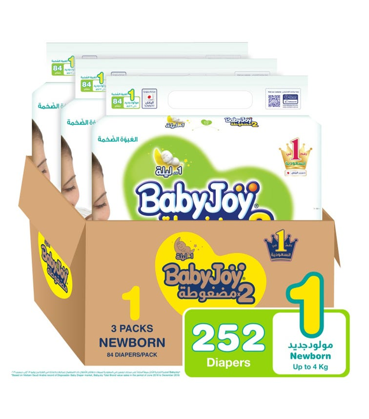 BABYJOY 2X Compressed Diaper, Mega Pack Newborn Size 1, Count 252, Up To 4 KG