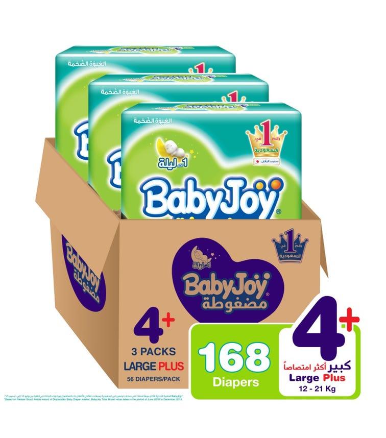 BABYJOY Compressed Diamond Pad Diaper, Mega Pack Large+ Size 4+, Count 168, 12 - 21 KG