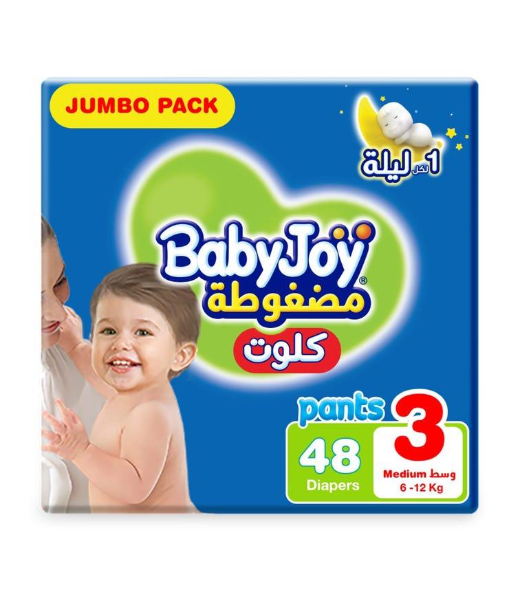 BABYJOY Cullotte Pants Diaper,  Jumbo Pack Medium Size 3, Count 48,  6 - 12 KG