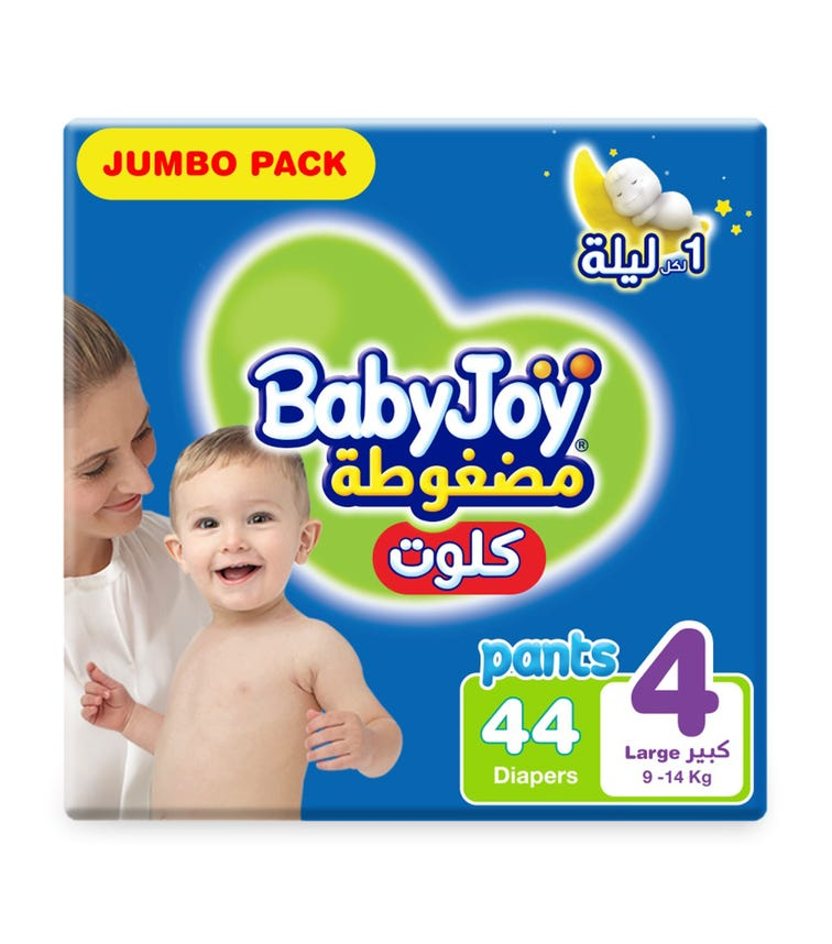 BABYJOY Cullotte Pants Diaper, Jumbo Pack Large Size 4, Count 44,  9 - 14 KG