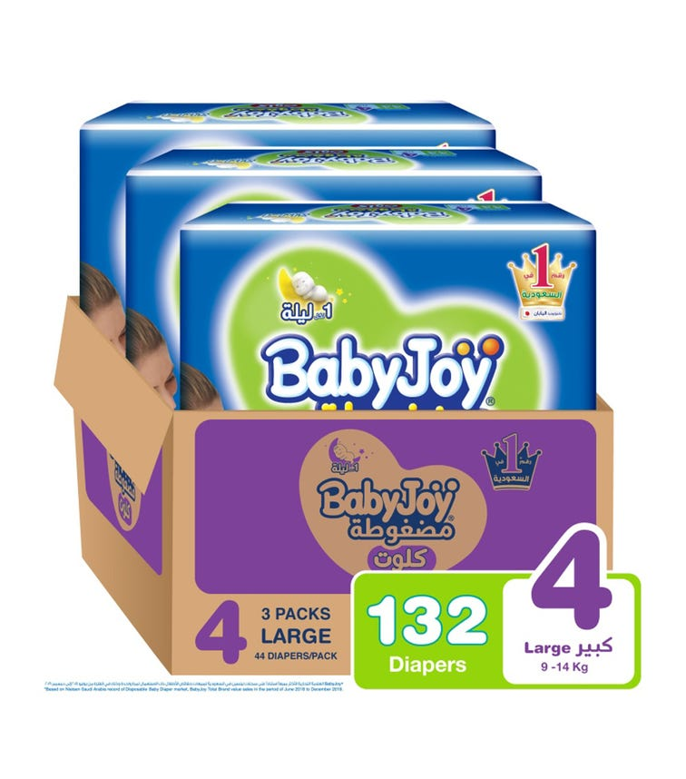 BABYJOY Cullotte Pants Diaper, Jumbo Pack Large Size 4, Count 132, 9 - 14 KG