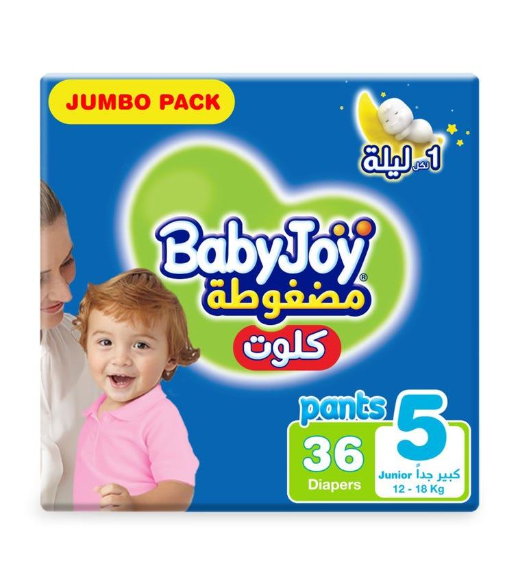 BABYJOY Cullotte Pants Diaper, Jumbo Pack Junior Size 5, Count 36, 12 - 18 KG
