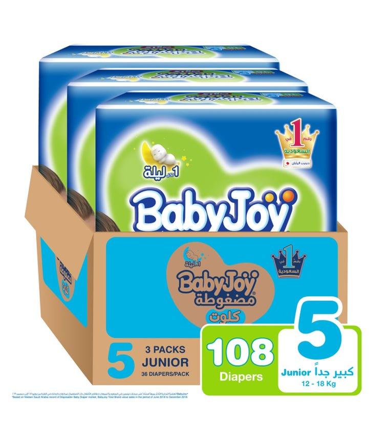 BABYJOY Cullotte Pants Diaper, Jumbo Pack Junior Size 5, Count 108, 12 - 18 KG