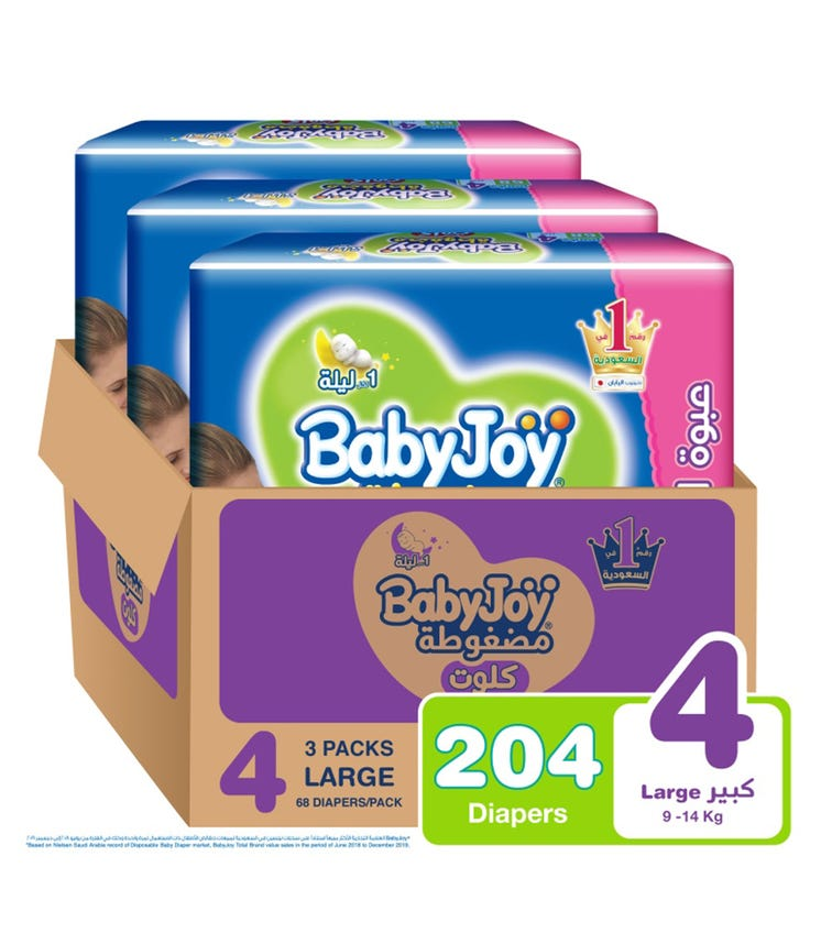 BABYJOY Cullotte Pants Diaper, Giant Pack Large Size 4, Count 204, 9 - 14 KG