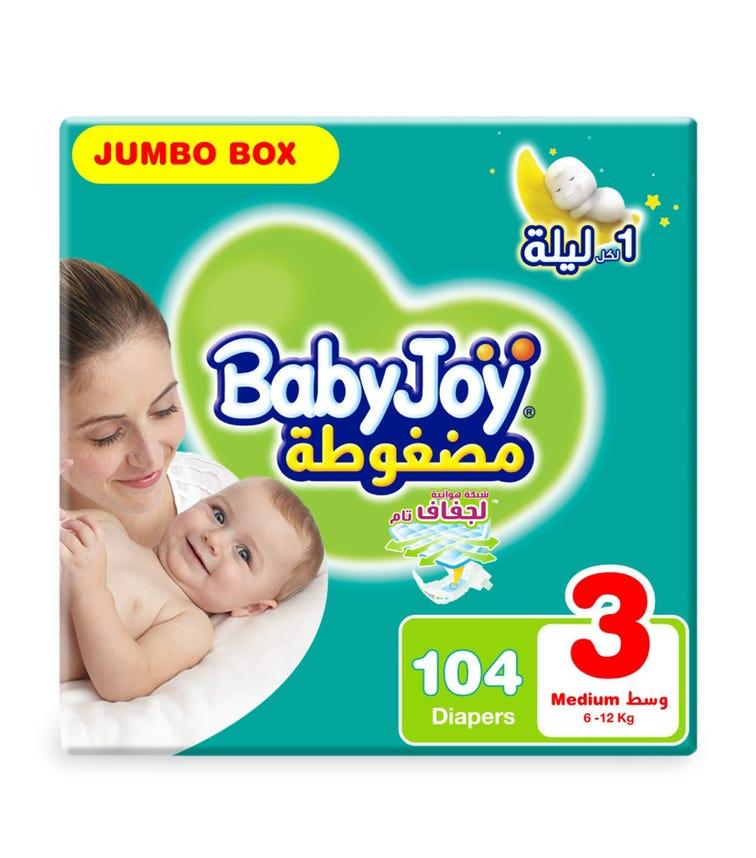BABYJOY Compressed Diamond Pad Diaper, Jumbo Box Medium Size 3, Count 104, 6 - 12 KG