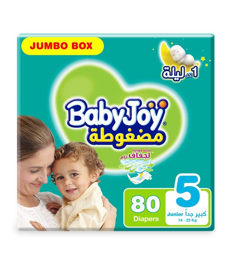 BABYJOY Compressed Diamond Pad Diaper, Jumbo Box Junior Size 5, Count 80, 14 - 23 KG
