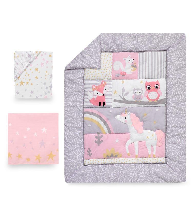 BEDTIME ORIGINALS Rainbow Unicorn - 3-Piece Bedding Set