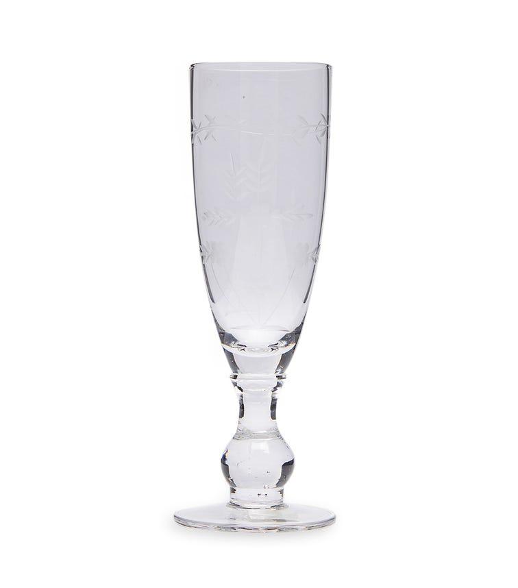 GREENGATE Champagne Glass W/Cutting - Clear
