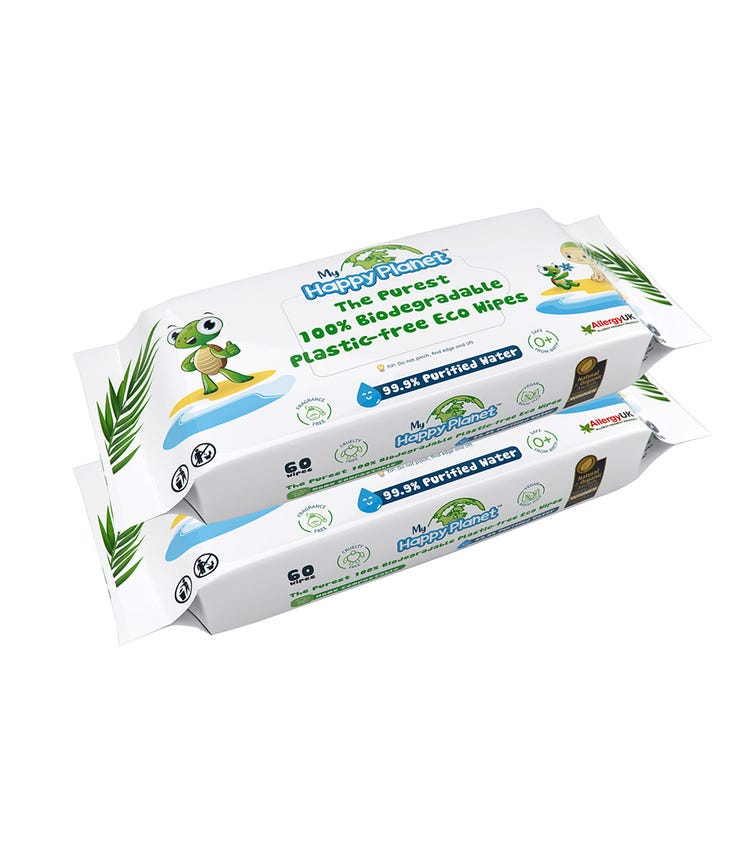 MY HAPPY PLANET 100% Biodegradable Plastic Wipes (Pack Of 2)