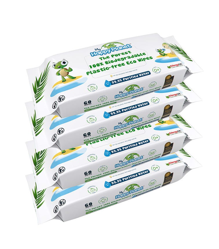 MY HAPPY PLANET 100% Biodegradable Plastic Wipes (Pack Of 4)