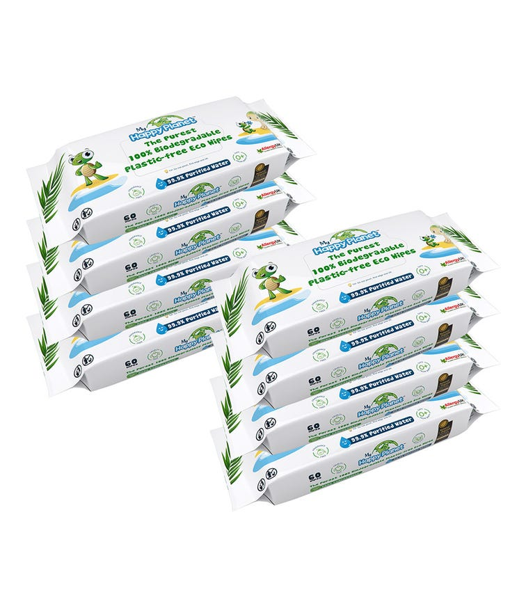 MY HAPPY PLANET 100% Biodegradable Plastic Wipes (Pack Of 8)