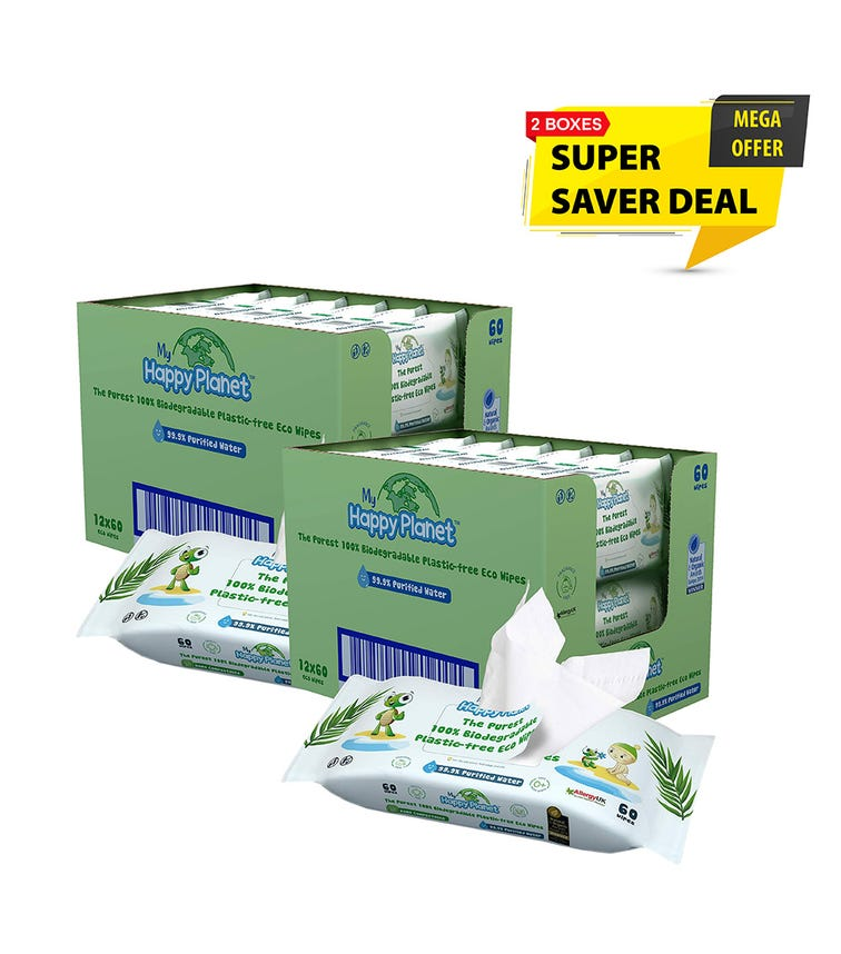 MY HAPPY PLANET 100% Biodegradable Plastic Wipes - Ocean Saver 24-Pack (60 Wipes)
