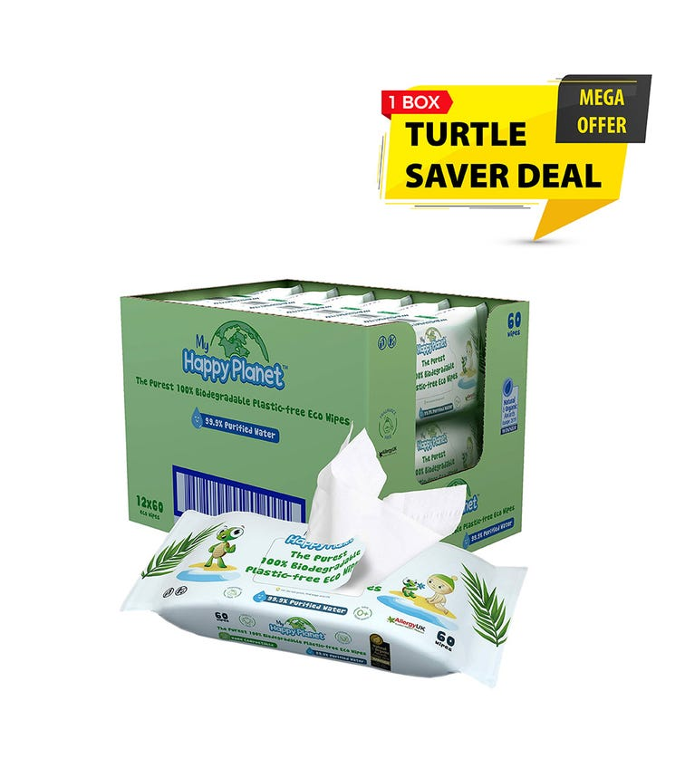 MY HAPPY PLANET 100% Biodegradable Plastic Wipes - Turtle Saver 12-Pack (60 Wipes)
