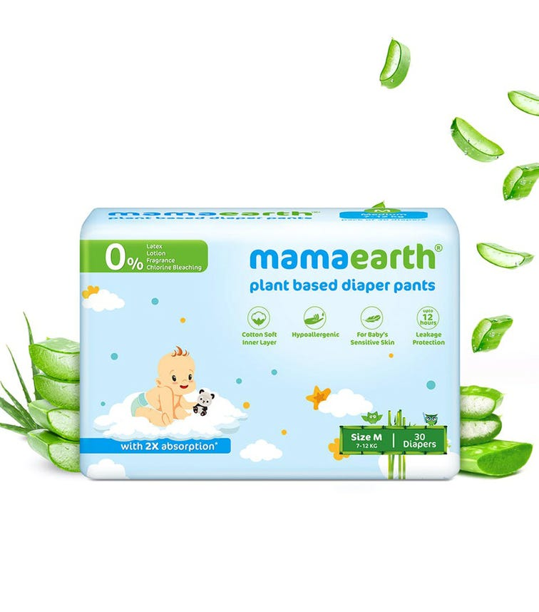 MAMAEARTH Plant-Based Diaper Pants For Babies Of 7-12 KG (Size M) 30 Diapers