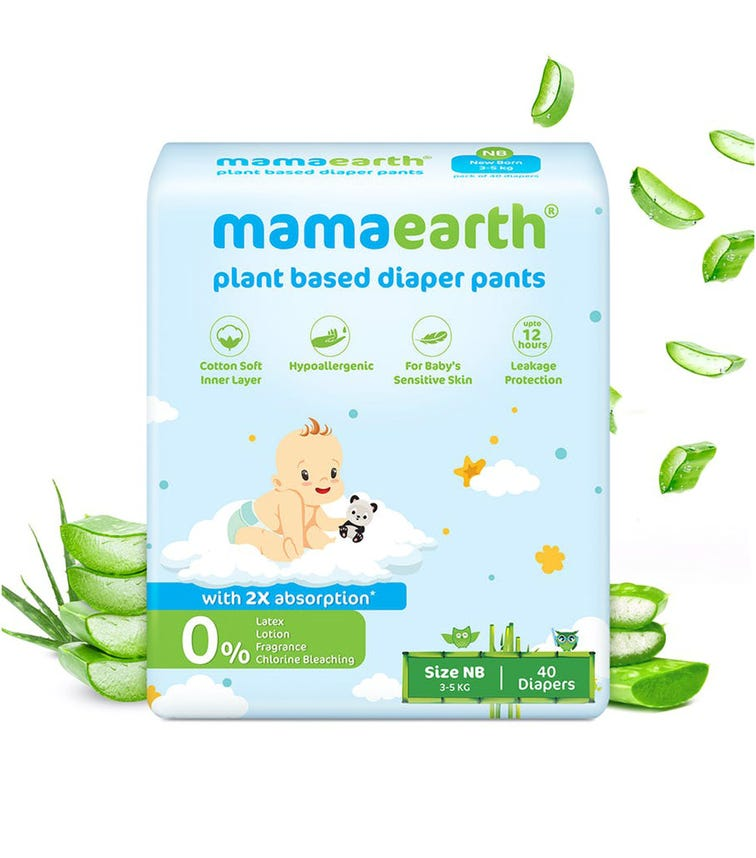 MAMAEARTH Plant-Based Diaper Pants For Babies Of 3-5 KG (Size NB) 40 Diapers