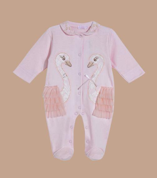 SOFIJA Pink Lace Swans Romper