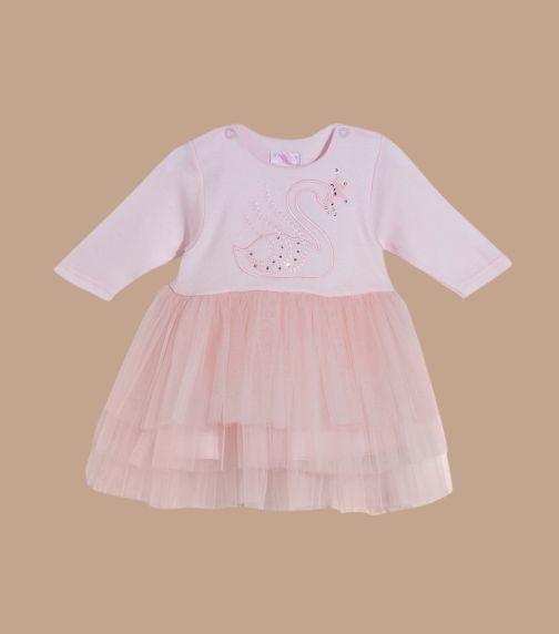 SOFIJA Big Swan With Diamonds Pink Tulle Dress