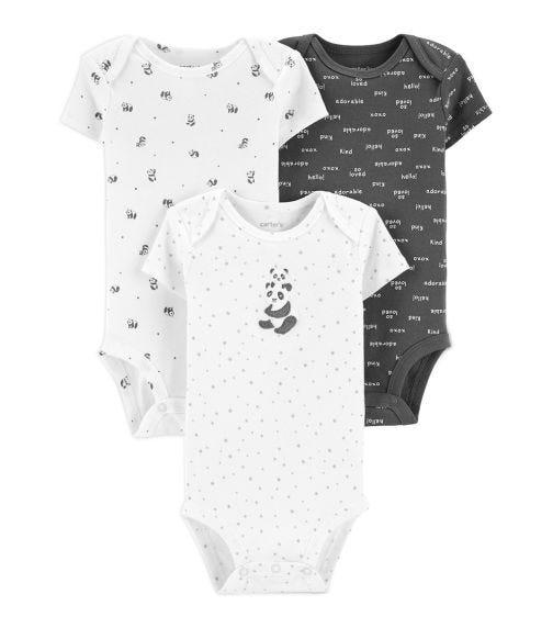CARTER'S 3-Pack Short-Sleeve Panda Bodysuits
