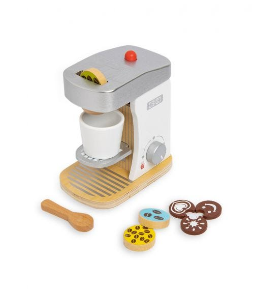 JOUECO Wooden Coffee Machine With Accessories