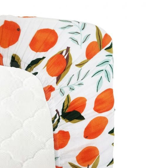 ANVI BABY Organic Bamboo Muslin Fitted Sheet - Oranges